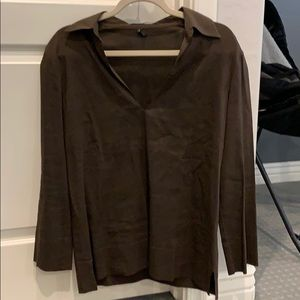 Theory brown linen top